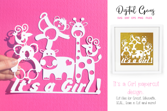 Download Free It S A Girl Papercut Design Graphic By Digital Gems Creative for Cricut Explore, Silhouette and other cutting machines.