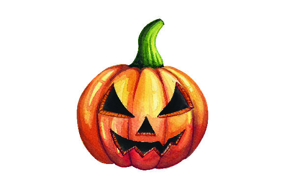 Jack-o'-lantern in Watercolor - Halloween Cut File