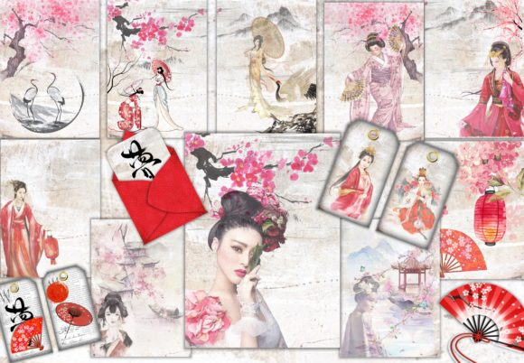 Print on Demand: Japanese Backgrounds and Clipart Kit Graphic Crafts By The Paper Princess