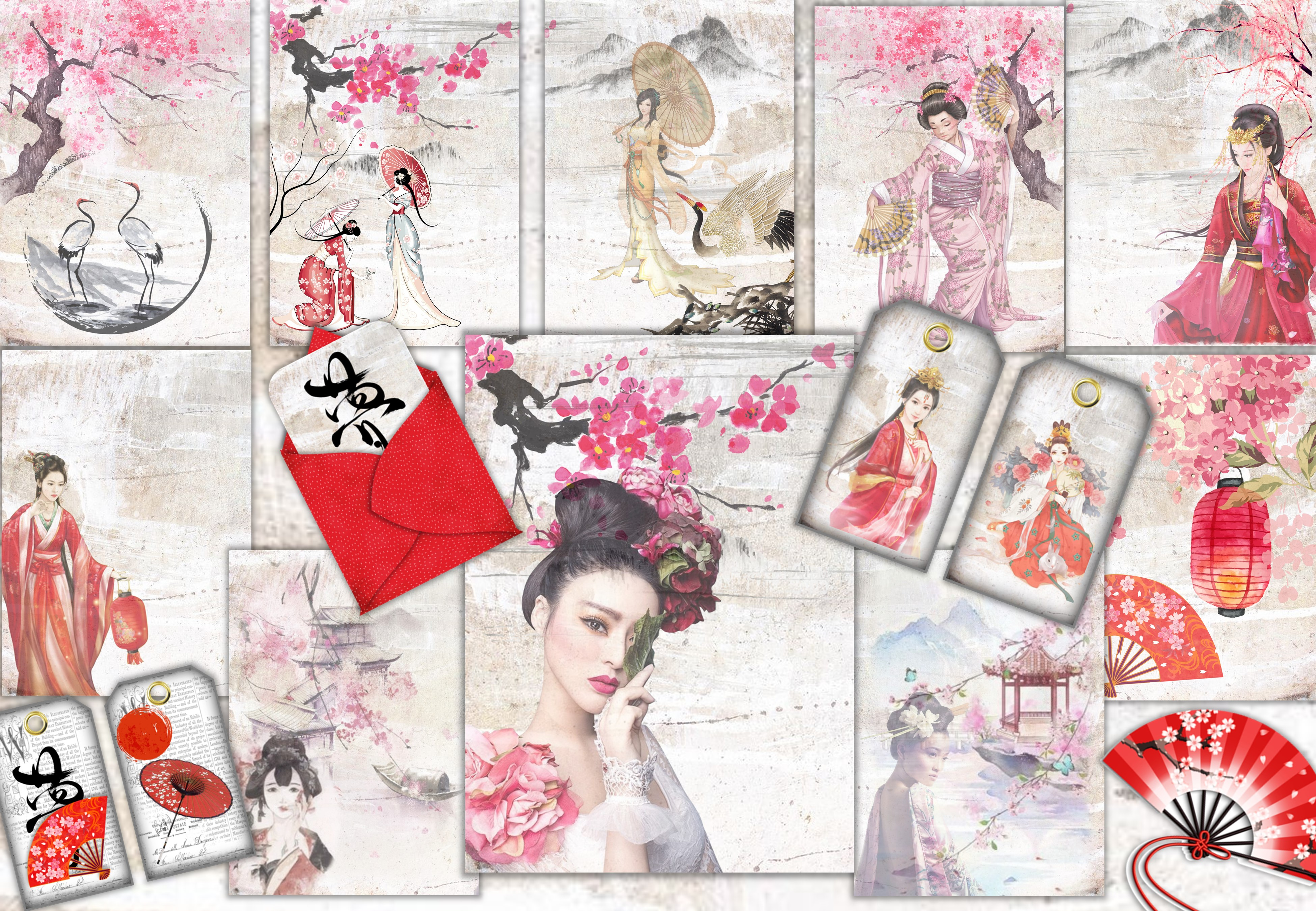 Japanese Backgrounds and Clipart Kit SVG File
