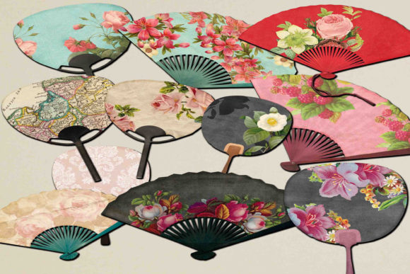 Print on Demand: Japanese Fans Clipart Graphic Illustrations By retrowalldecor