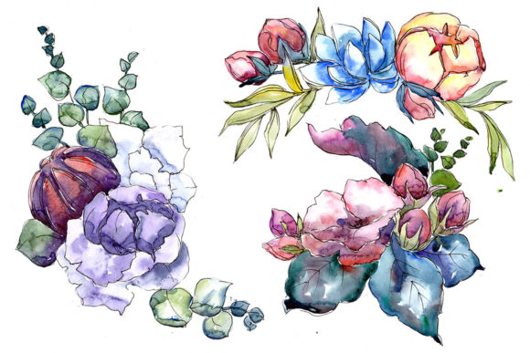 Print on Demand: Jenny Flowers Bouquet Watercolor Graphic Illustrations By MyStocks