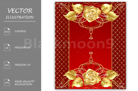Jewelry Design with a Gold Rose Graphic Illustrations By Blackmoon9