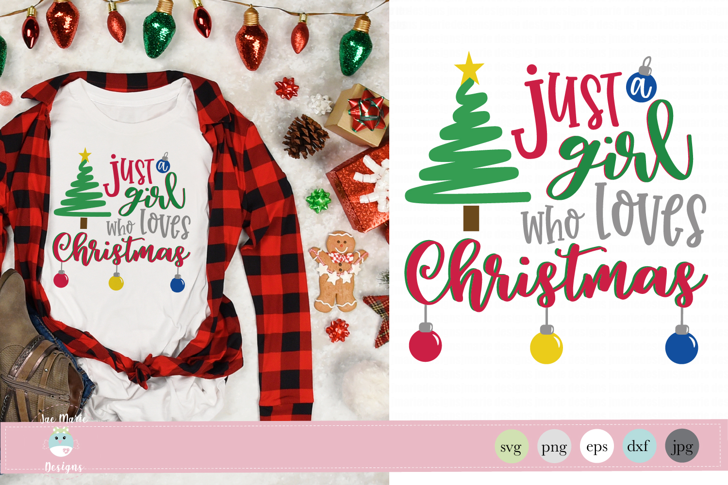 Download Free Just A Girl Who Loves Christmas Graphic By Thejaemarie for Cricut Explore, Silhouette and other cutting machines.