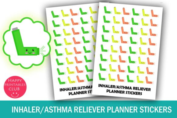 Print on Demand: Kawaii Inhaler Planner Stickers-Health Graphic Crafts By Happy Printables Club