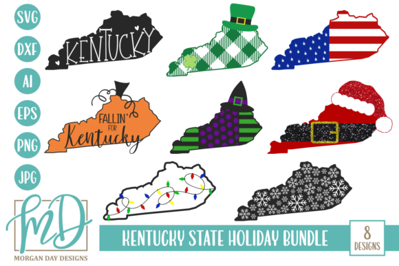 Kentucky State Holiday Bundle Graphic Crafts By Morgan Day Designs