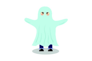 Kid Dressed As Ghost - Halloween Halloween Craft Cut File By Creative Fabrica Crafts