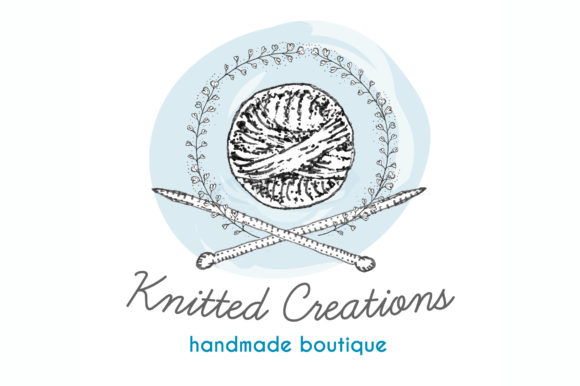 Download Free Knitted Creations Knitting Logo Template Graphic By Ramandu for Cricut Explore, Silhouette and other cutting machines.
