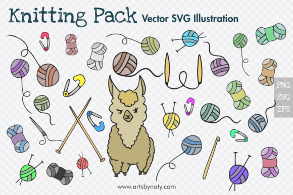 Print on Demand: Knitting Cute Vector Illustration Pack. Graphic Illustrations By artsbynaty