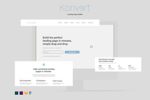 Konvert Landing Page Builder Graphic UX and UI Kits By Web Donut - Image 1