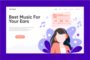 Landing Page Best Music for Your Ears Graphic By davaregastudio