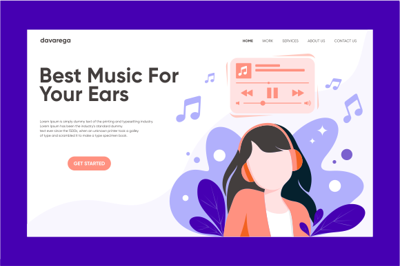Landing Page Best Music for Your Ears Graphic Landing Page Templates By davaregastudio