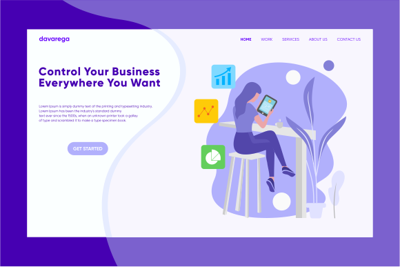 Landing Page Control Your Business Graphic Landing Page Templates By davaregastudio