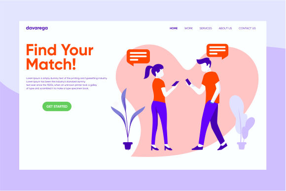Landing Page Find Your Match Graphic Landing Page Templates By davaregastudio