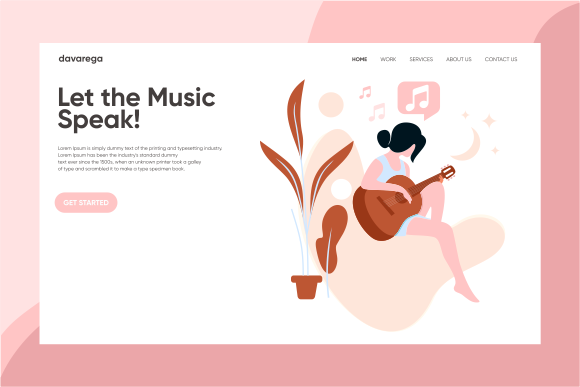 Download Free Landing Page Let The Music Speak Graphic By Davaregastudio for Cricut Explore, Silhouette and other cutting machines.