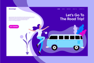 Landing Page Let's Go to the Road Trip ! Graphic By davaregastudio