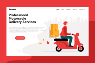 Landing Page Motorcycle Delivery Graphic By davaregastudio