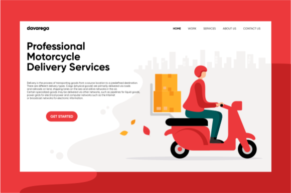 Landing Page Motorcycle Delivery Graphic Landing Page Templates By davaregastudio