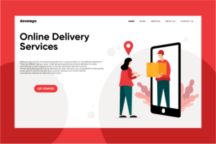 Landing Page Online Delivery Services Graphic By davaregastudio