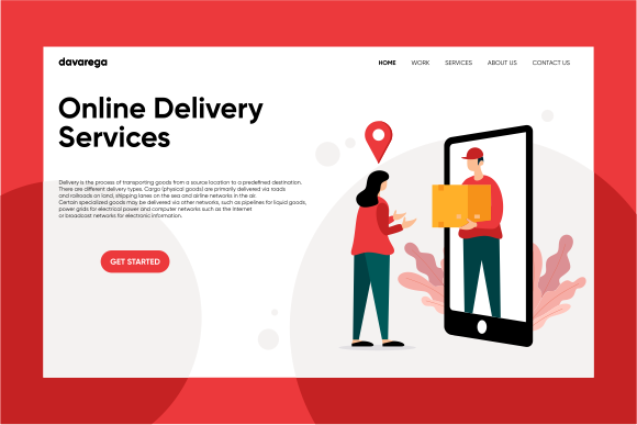 Landing Page Online Delivery Services Graphic Landing Page Templates By davaregastudio