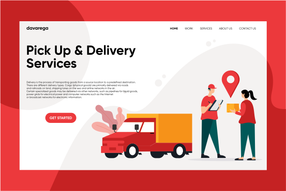Landing Page Pick Up & Delivery Services Graphic Landing Page Templates By davaregastudio