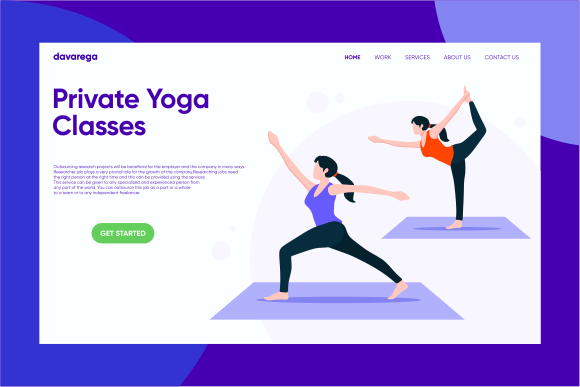 Landing Page Private Yoga Classes Graphic Landing Page Templates By davaregastudio