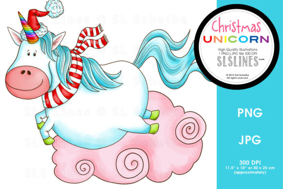 Print on Demand: Leaping Christmas Unicorn Graphic Illustrations By SLS Lines