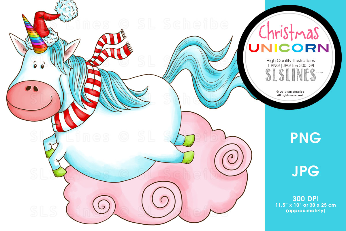 Download Free Leaping Christmas Unicorn Graphic By Sls Lines Creative Fabrica SVG Cut Files