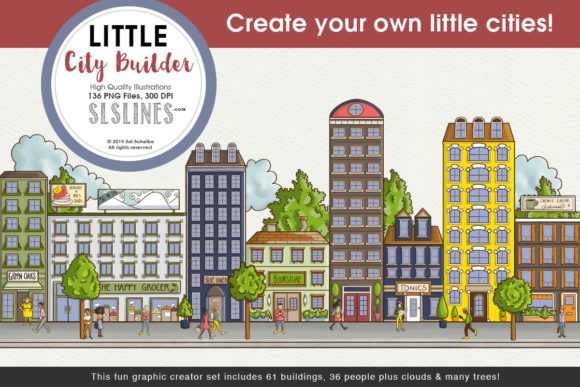 Print on Demand: Little Cities Creator Graphic Set Graphic Illustrations By SLS Lines