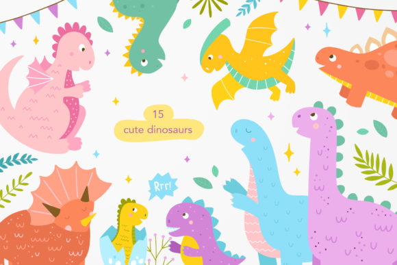 Download Free Little Dinosaurs Graphic By Redchocolate Creative Fabrica for Cricut Explore, Silhouette and other cutting machines.