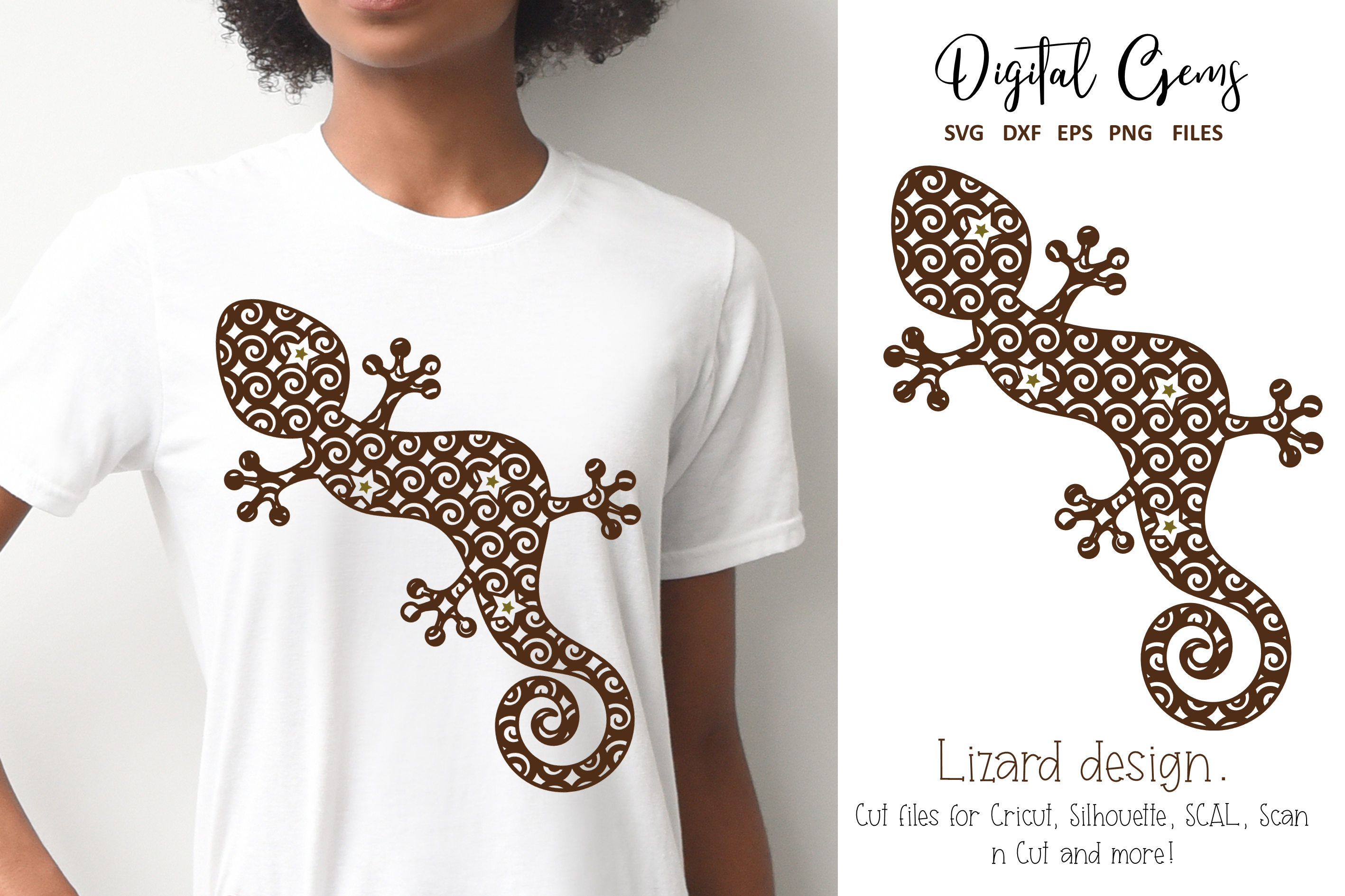 Download Free Lizard Design Graphic By Digital Gems Creative Fabrica for Cricut Explore, Silhouette and other cutting machines.