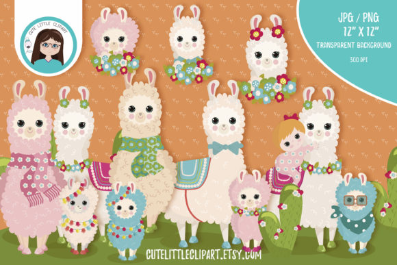 Download Free Llama Cliparts Llamas With Baby Llamas Graphic By for Cricut Explore, Silhouette and other cutting machines.