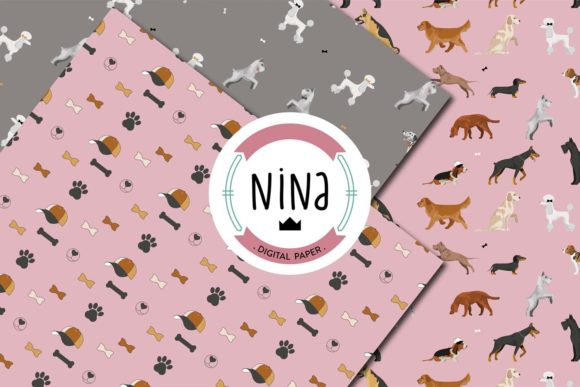 Download Free Love Dogs Digital Paper Pack Graphic By Nina Prints Creative for Cricut Explore, Silhouette and other cutting machines.
