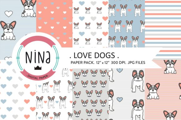 Love Dogs Wrapping Paper Graphic Patterns By Nina Prints