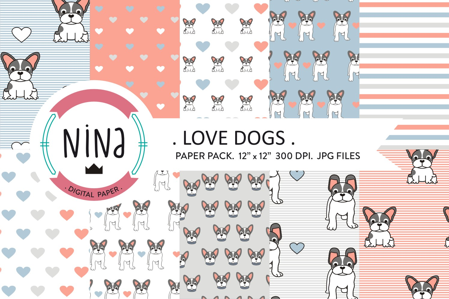Download Free Love Dogs Wrapping Paper Graphic By Nina Prints Creative Fabrica for Cricut Explore, Silhouette and other cutting machines.