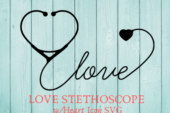Print on Demand: Love Stethoscope with Heart Icon Graphic Crafts By Mockup Venue
