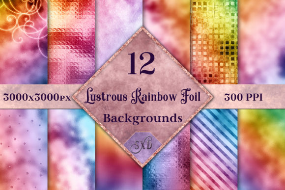 Lustrous Rainbow Foil Backgrounds Graphic By SapphireXDesigns