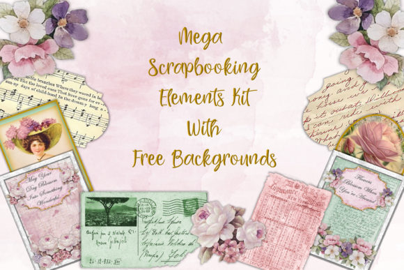 Mega Scrapbooking Kit Free Backgrounds Graphic By The Paper Princess Image 1