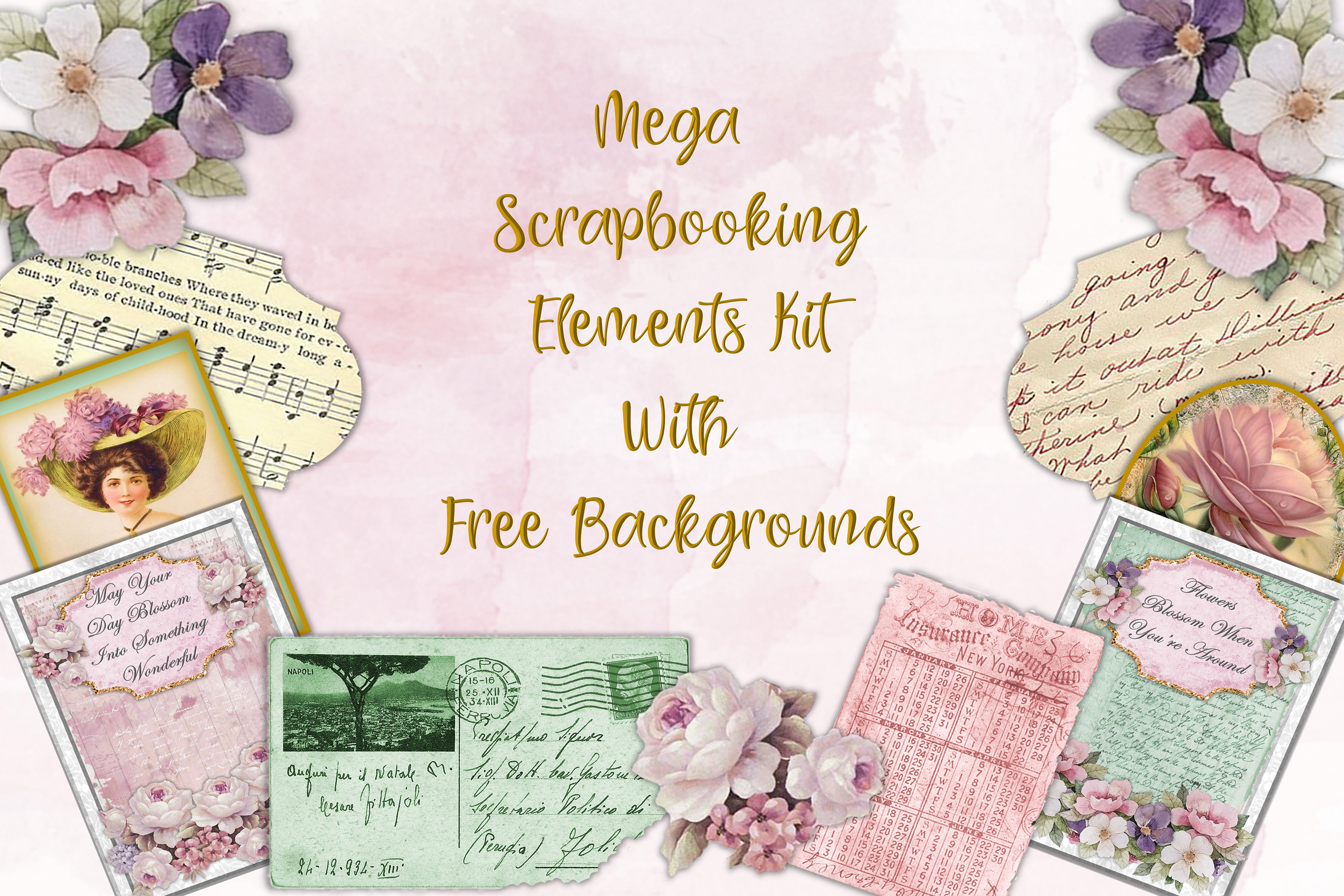 Download Free Mega Scrapbooking Kit Free Backgrounds Graphic By The Paper SVG Cut Files