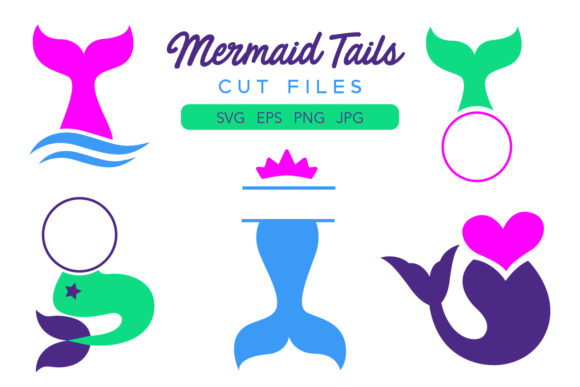 Download Free Mermaid Tails Cut Files Graphic By Davidrockdesign Creative for Cricut Explore, Silhouette and other cutting machines.