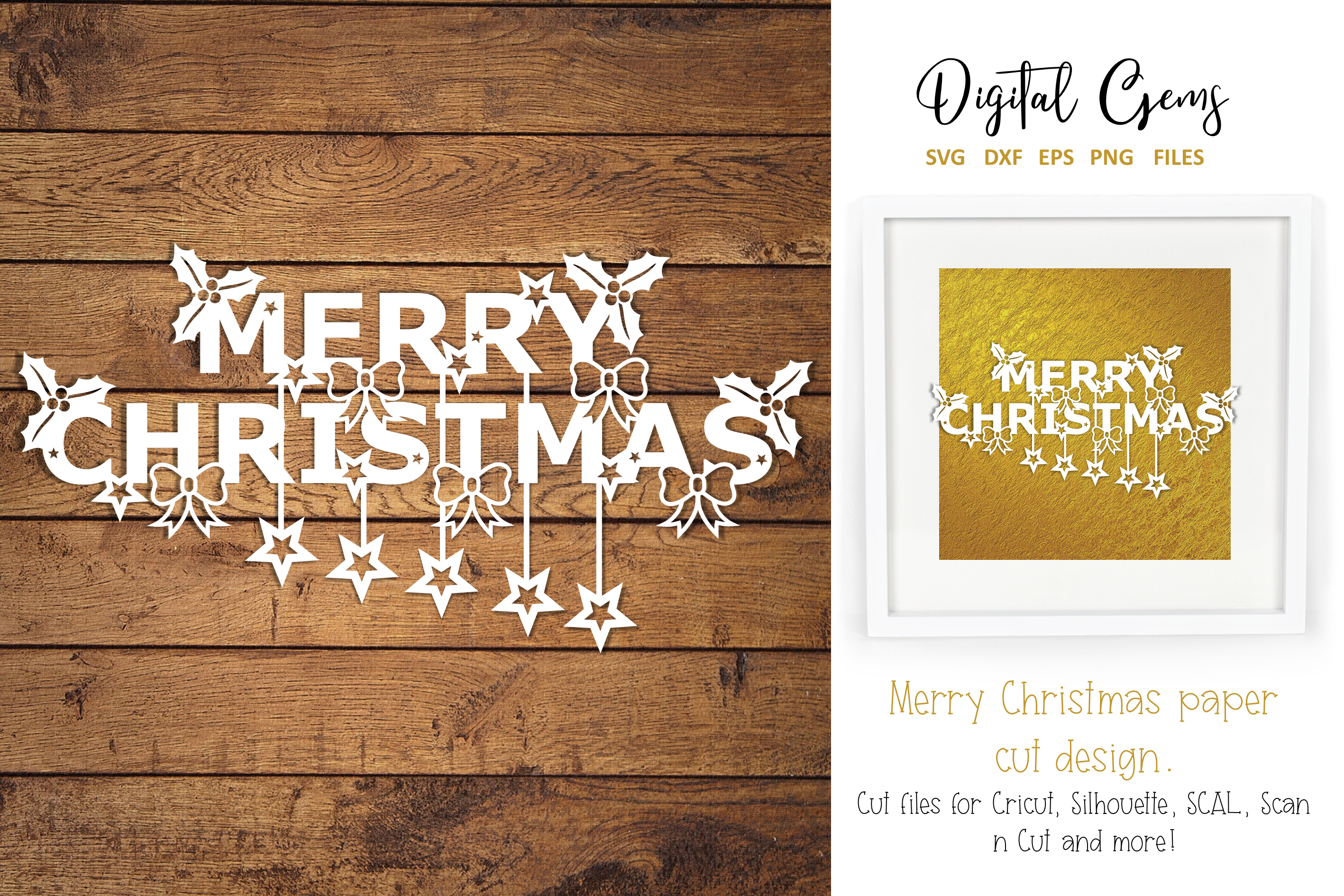 Download Free Merry Christmas Papercut Design Graphic By Digital Gems for Cricut Explore, Silhouette and other cutting machines.