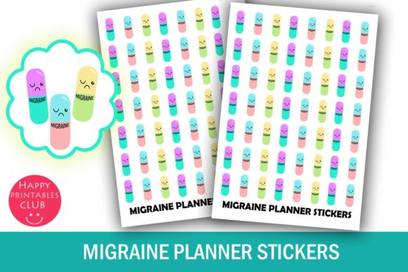 Print on Demand: Migraine Planner Stickers- Health Graphic Crafts By Happy Printables Club - Image 1