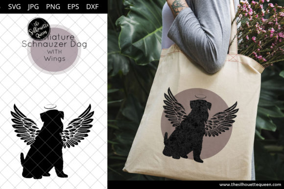 Download Free Miniature Schnauzer Dog 4 With Wings Graphic By for Cricut Explore, Silhouette and other cutting machines.