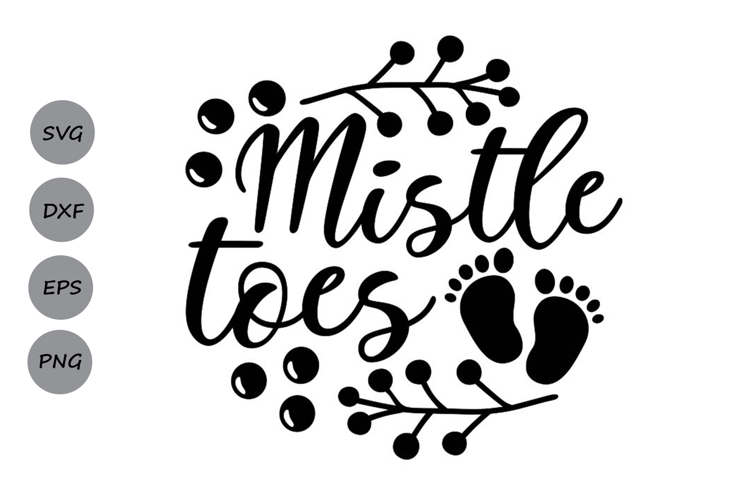 Download Free Mistle Toes Graphic By Cosmosfineart Creative Fabrica for Cricut Explore, Silhouette and other cutting machines.