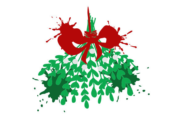Download Free Mistletoe Sprig Abstract Print Style Svg Cut File By Creative for Cricut Explore, Silhouette and other cutting machines.