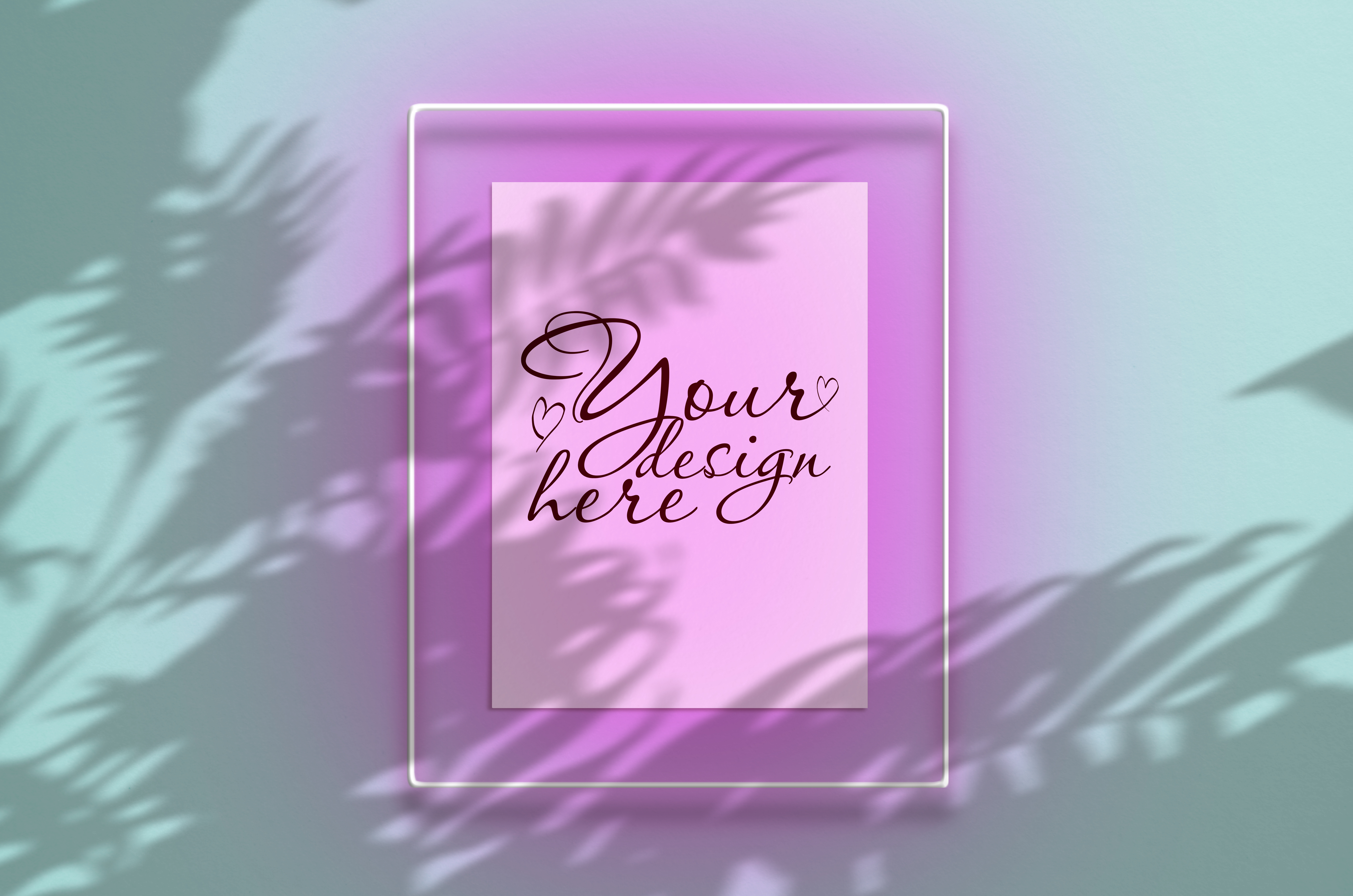 Download Free Mockup Poster In A Neon Pink Frame Graphic By Natalia Arkusha for Cricut Explore, Silhouette and other cutting machines.