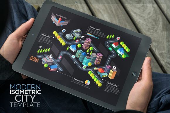 Modern Isometric City Template Graphic Infographics By a.p.krasov