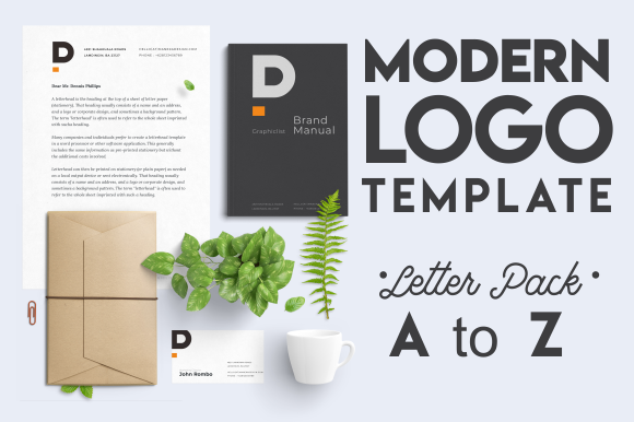 Download Free Modern Minimal Logo Template Letter Pack Graphic By Maneka for Cricut Explore, Silhouette and other cutting machines.