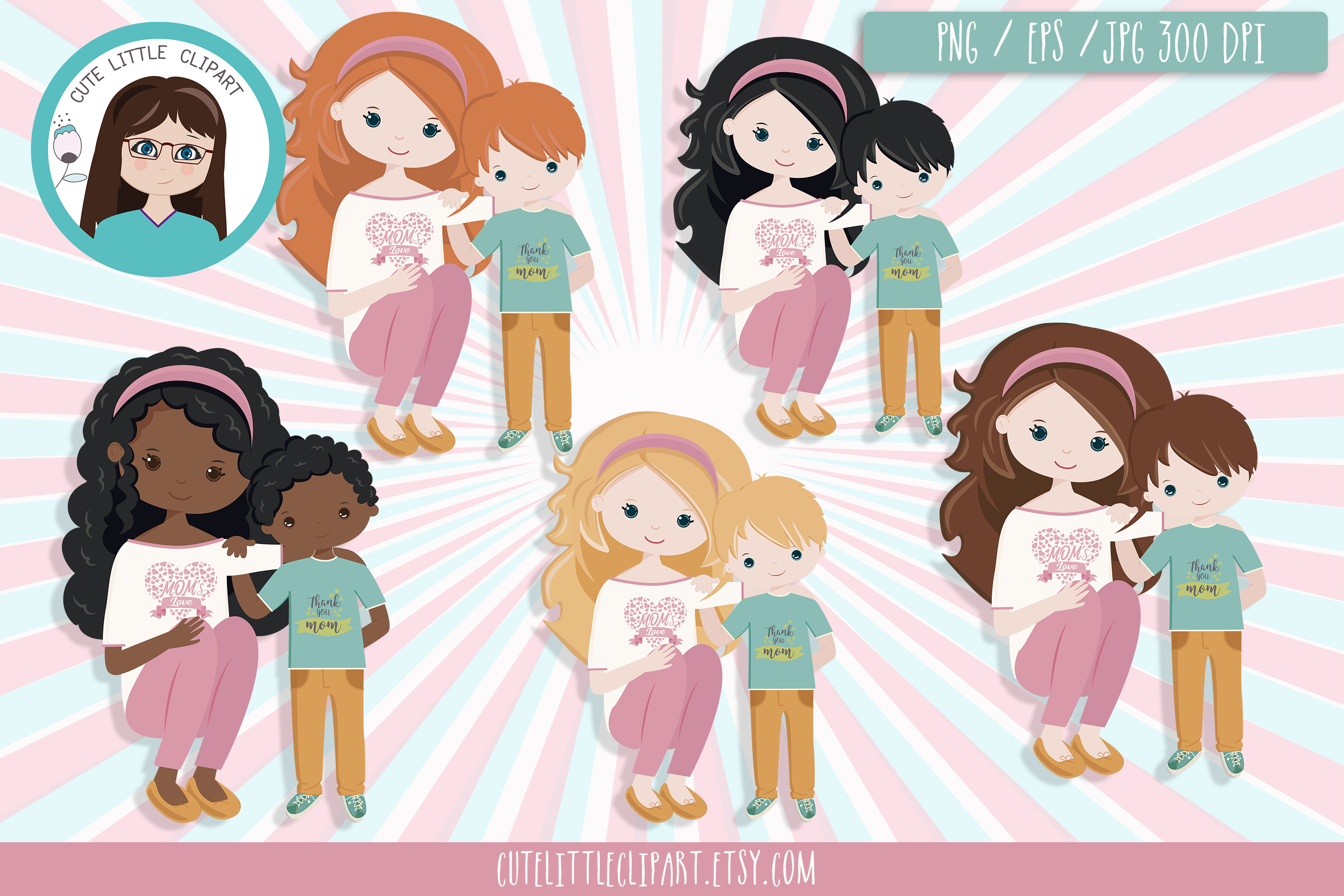 Download Free Mom Clipart Mom And Son Graphic By Cutelittleclipart Creative for Cricut Explore, Silhouette and other cutting machines.