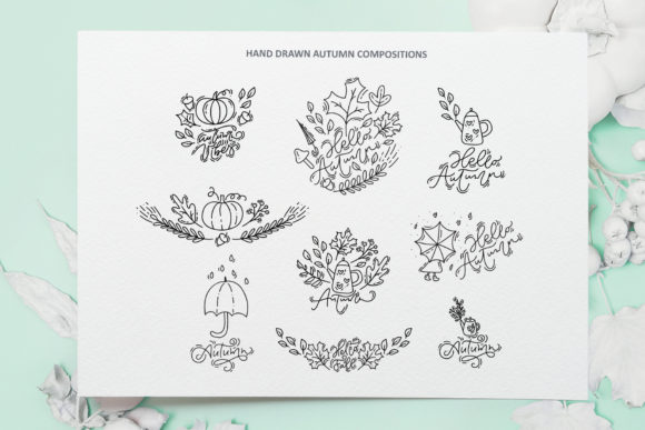 Monoline Vector Autumn Floral Elements Graphic Objects By Happy Letters - Image 10